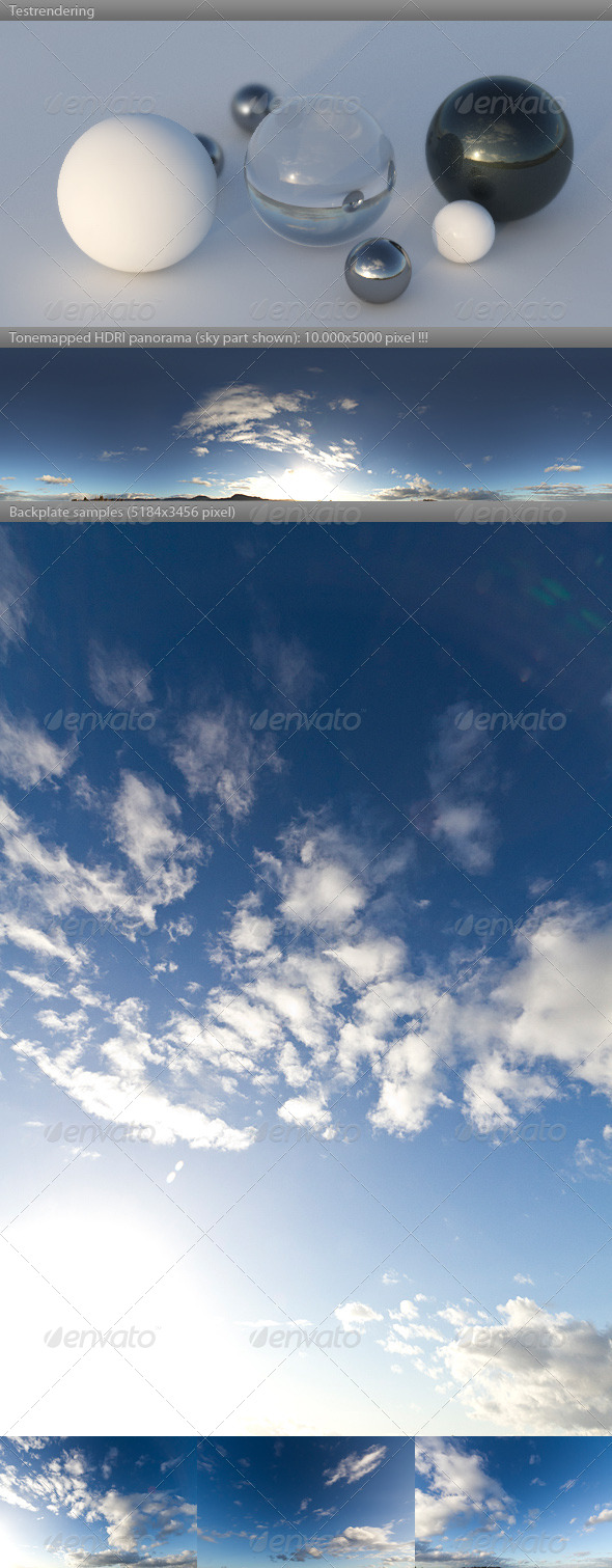 3DOcean HDRI spherical sky panorama 1556- sun noon clouds 4489009