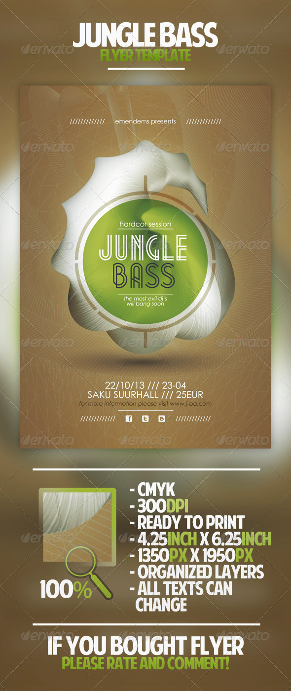 GraphicRiver Jungle Bass Flyer Template 4490634