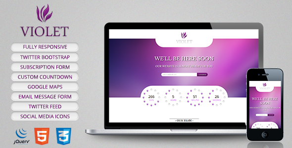 Violet - Responsive Coming Soon Page - Under Construction Specialty Pages