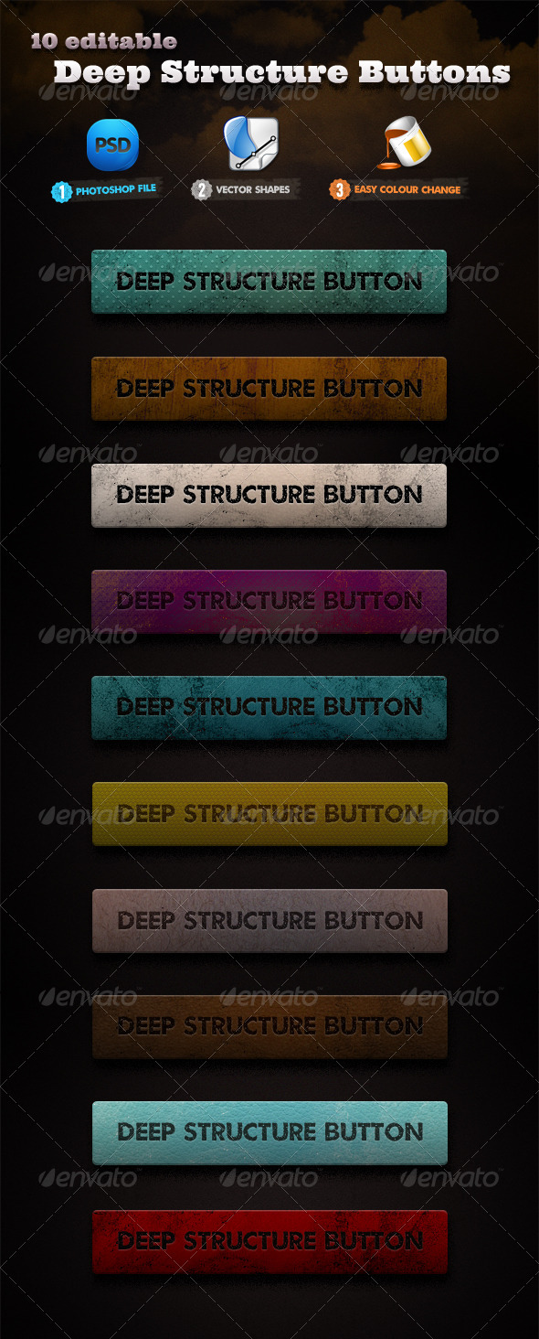 10 Deep Structure Buttons Set - Buttons Web Elements
