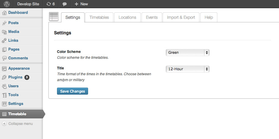 Timetable for Wordpress - The admin page where you can change the general settings affecting all timetables.
