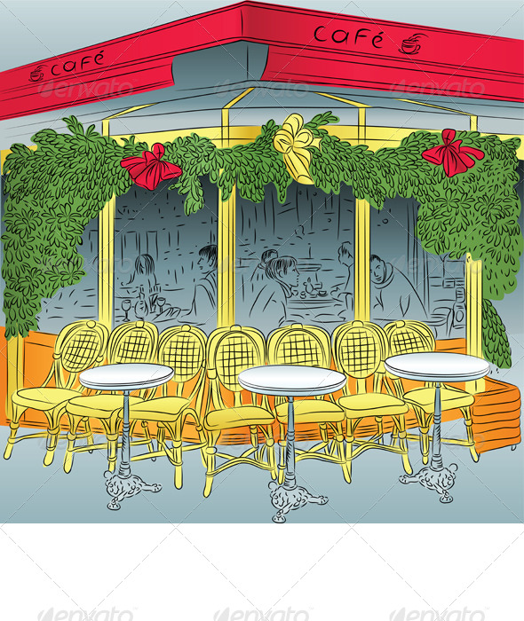 Vector Sketch of the Parisian Cafe - Travel Conceptual