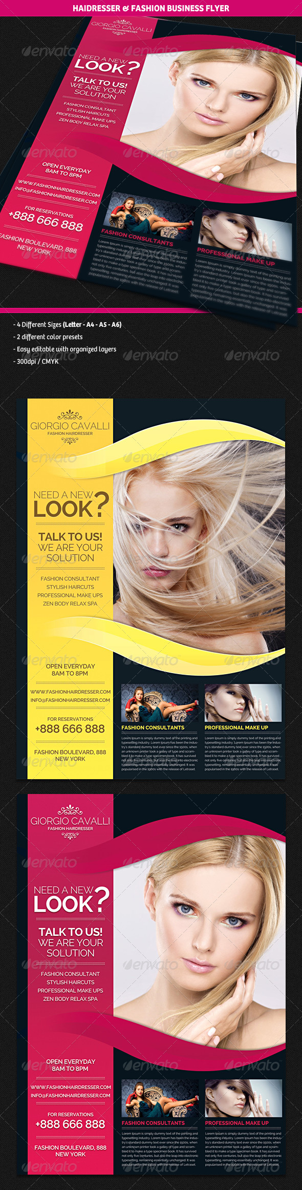 GraphicRiver Hair Dresser Salon & Fashion Business Flyer 4492406
