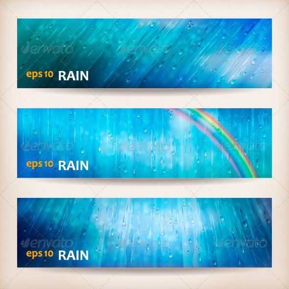 GraphicRiver Blue Rain Banners Abstract Water Background Design 4492647
