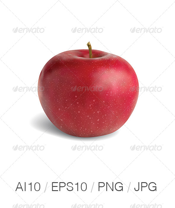 GraphicRiver Realistic Red Apple 4492781