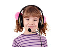 beautiful little girl with headphones and microphone - PhotoDune Item for Sale