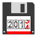 Old floppy disc for computer data storage with 2014 New Year co - PhotoDune Item for Sale