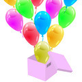 Glossy multicolored balloons flying out of the cardboard box. Ve - PhotoDune Item for Sale