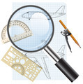 Magnifying glass icon, drawing   aircraft. Vector illustration. - PhotoDune Item for Sale