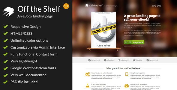 Off the Shelf - Responsive E-Book Landing Page by ShapingRain ...