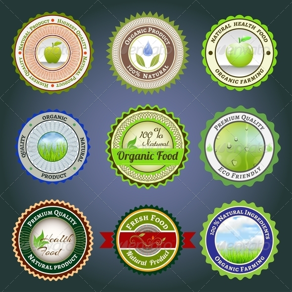Organic Labels, Badges and Stickers - Health/Medicine Conceptual