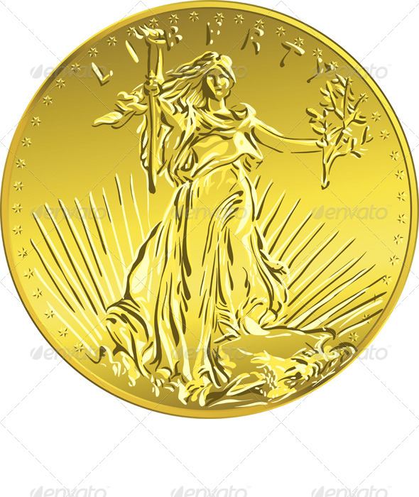 GraphicRiver American Liberty Gold Coin 4498785
