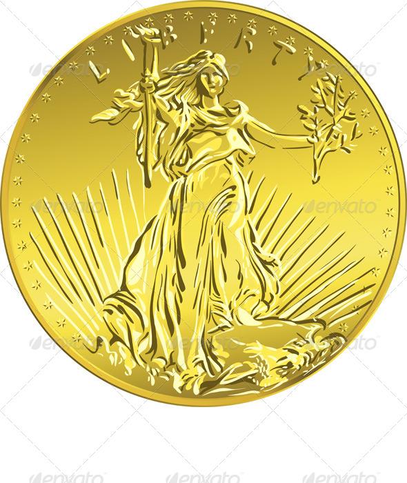 GraphicRiver American Liberty Gold Coin 4498785