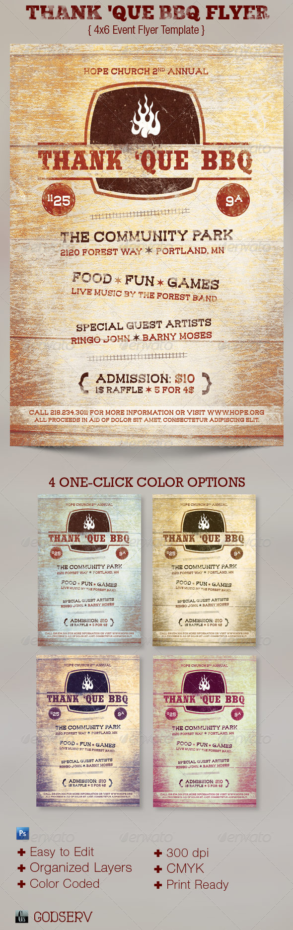 Thank 'Que Western BBQ Charity Flyer Template - Church Flyers