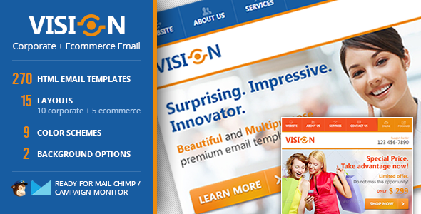 ThemeForest Vision Corporate & Ecommerce Email Template 4493547