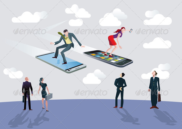 GraphicRiver Businessman Businesswoman and Flying Smartphones 4500674