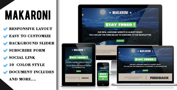 Makaroni - Responsive Underconstruction Template - Under Construction Specialty Pages
