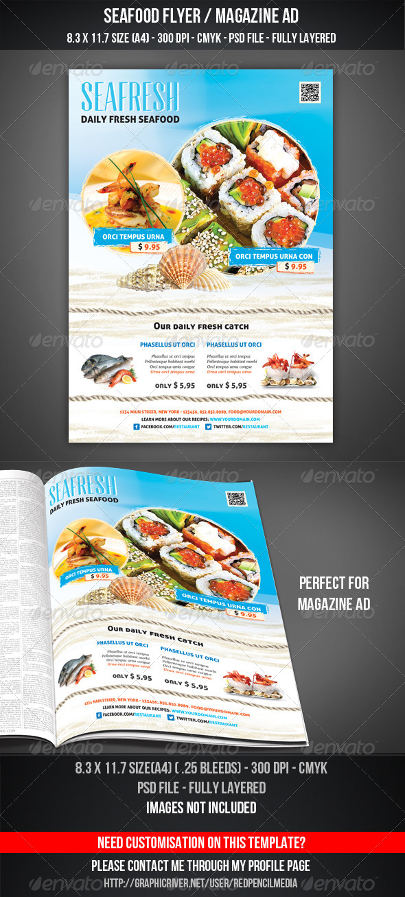 GraphicRiver Seafood Flyer Magazine AD 4418803