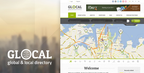 GLOCAL is a fresh & modern PSD Template ideal for creating a directory or yellow pages oriented portal. This Template can be used to promote your clients bu