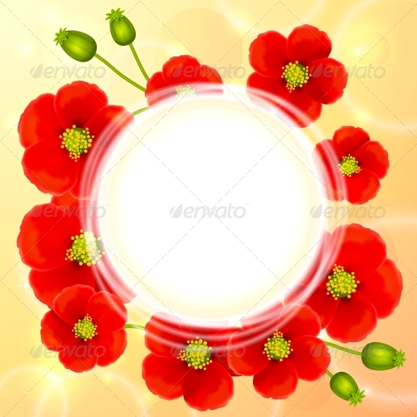 GraphicRiver Red Poppy Flowers Vector Round Background 4508814