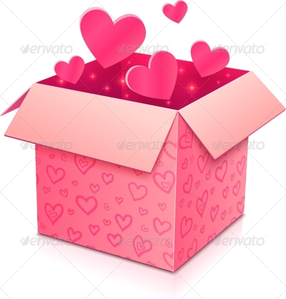 GraphicRiver Ornate Open Box with Rose Paper Hearts Inside 4508848