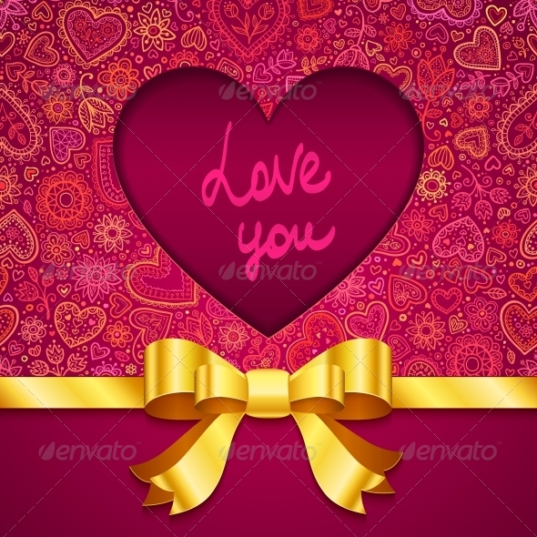 GraphicRiver Valentines Day Greeting Card with Heart and Ribbon 4508851