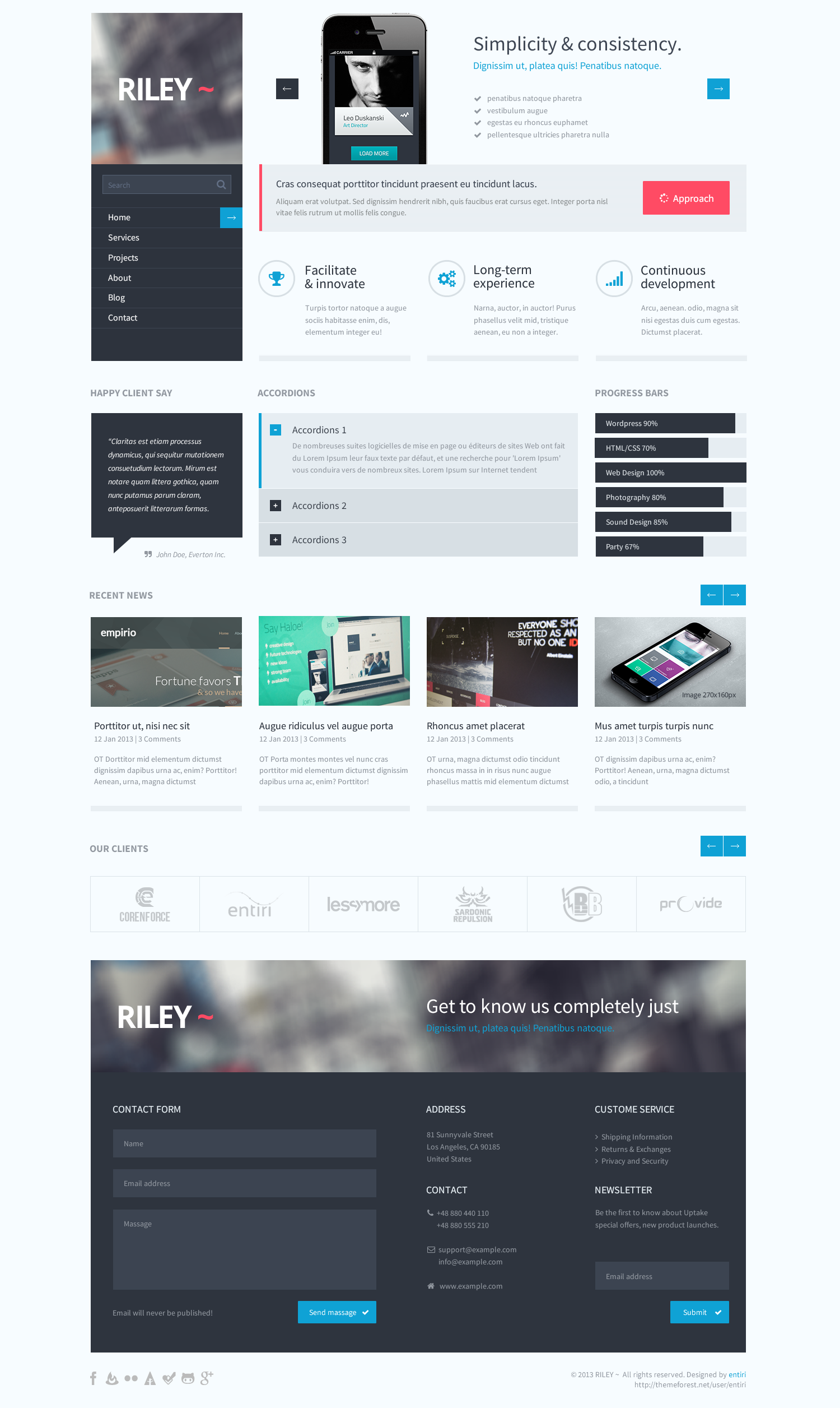 Riley | Unique PSD template