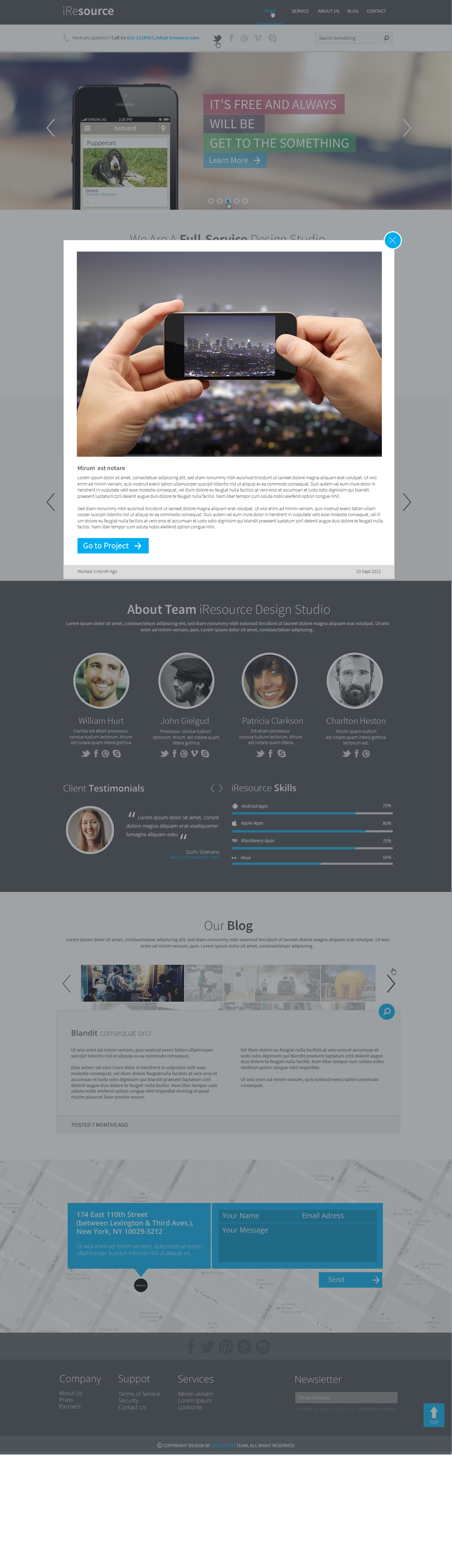 iResources - Creative One Page portfolio PSD Theme
