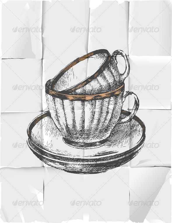 GraphicRiver 2 Cups with Saucers 4513095