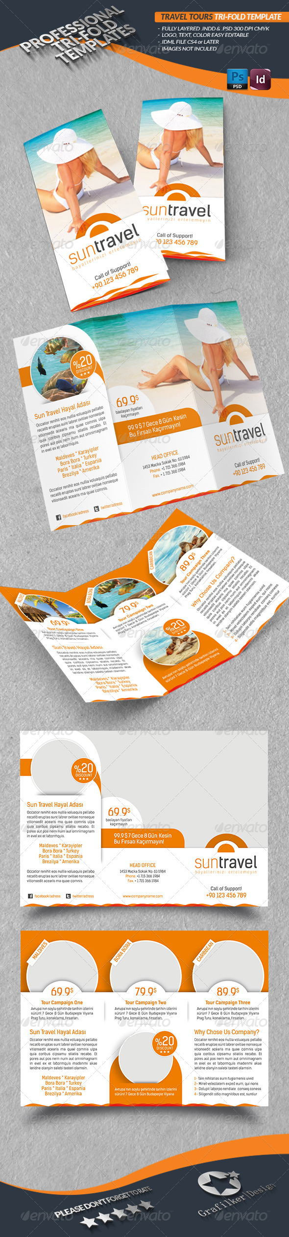 GraphicRiver Travel Tours Tri-Fold Template 4430908
