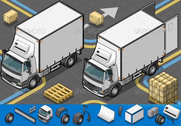 GraphicRiver Isometric Container Refrigerator Truck 4514279