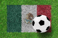 soccer ball on Flag Mexico as a painting on green grass - PhotoDune Item for Sale