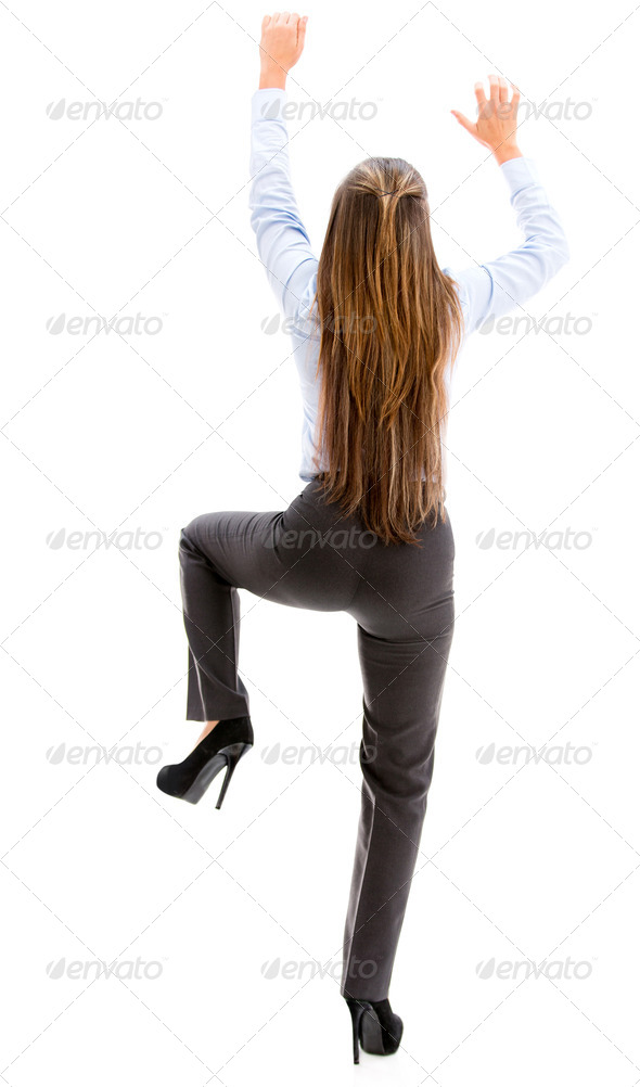 businesswoman hiking a wall - Stock Photo - Images