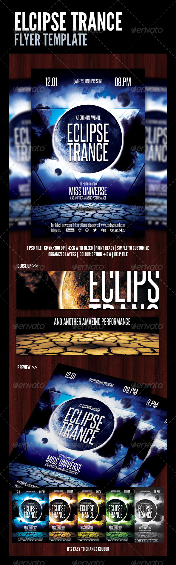 GraphicRiver Eclips Trance Flyer Poster 4515952