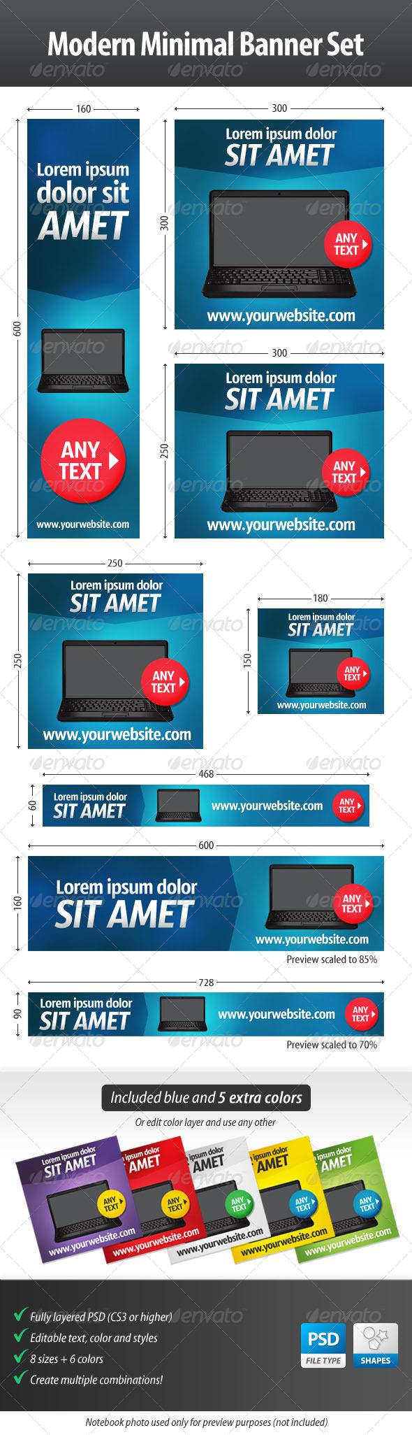 GraphicRiver Modern Minimal Web Banner Set 4518117