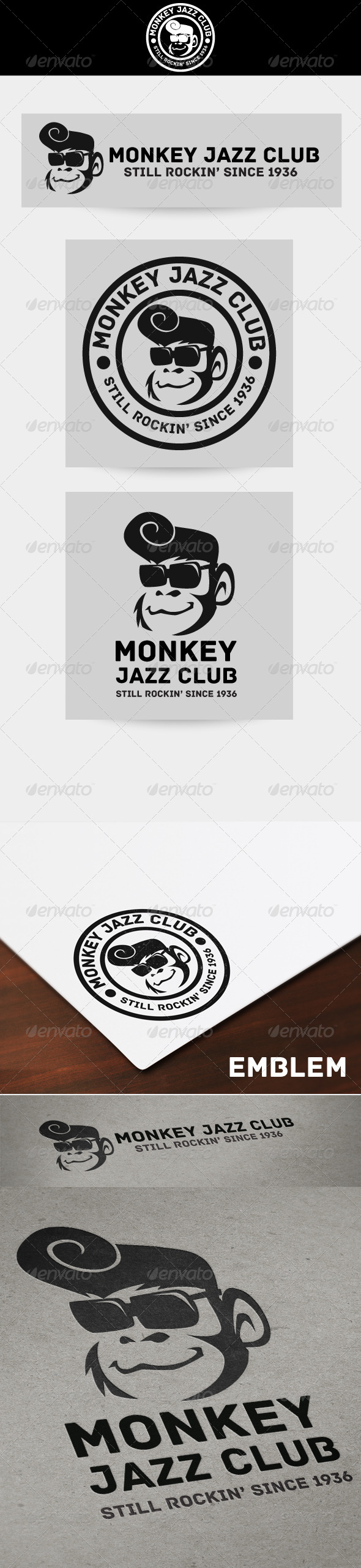 Monkey Jazz Club (Emblem, Vertical, Horizontal) Logo - Animals Logo Templates