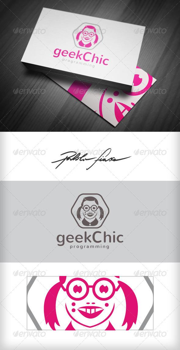 GraphicRiver Geek Chic Geek Girl Programmer Nerd Girl Logo 4062264
