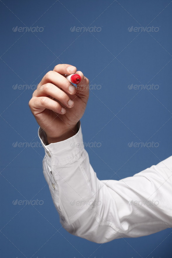 Hand with a marker - Stock Photo - Images
