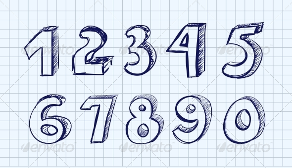 GraphicRiver Hand drawn Vector Numbers 4521513