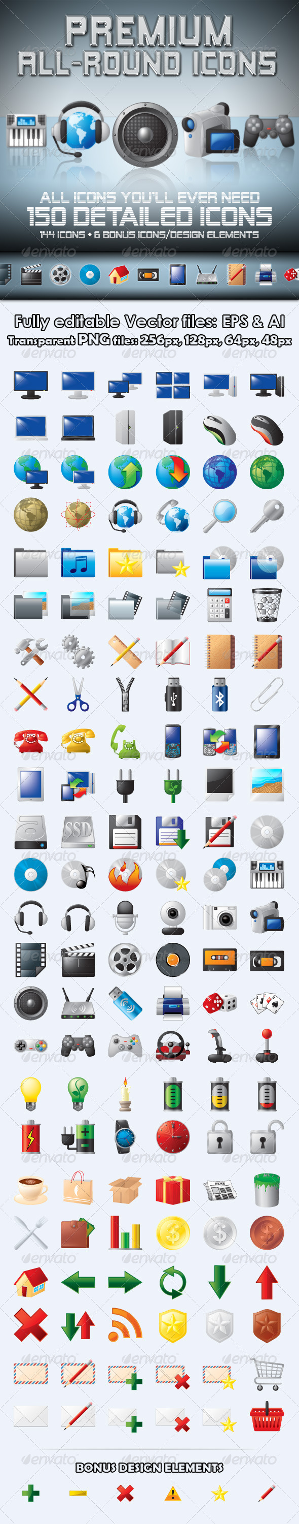 GraphicRiver Premium All-Round Icons 476097