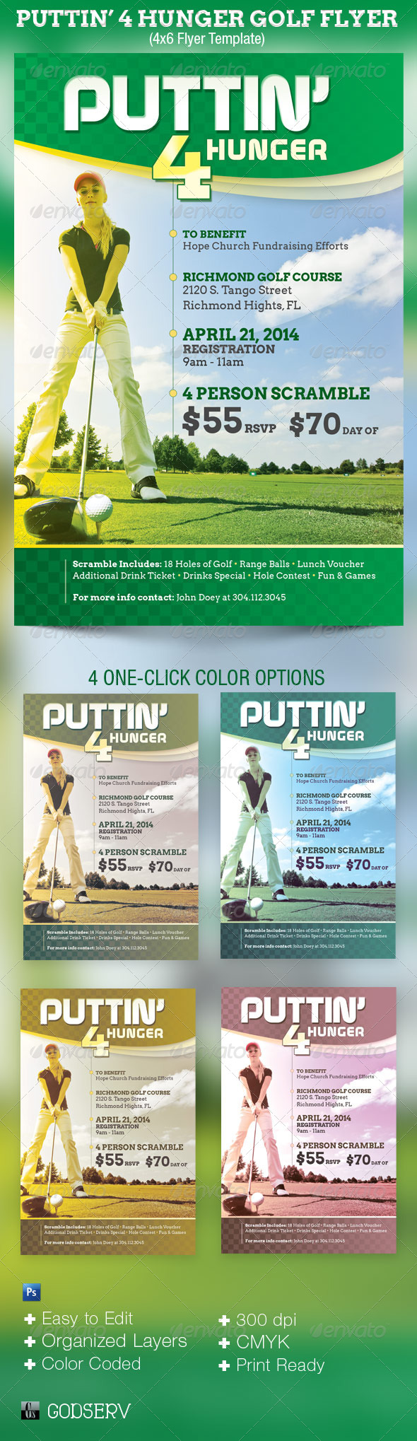 Puttin 4 Hunger Charity Golf Flyer Template - Sports Events