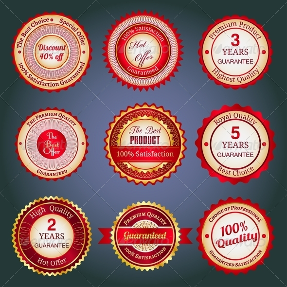 Set Of Sale Badges, Labels And Stickers In Red - Retail Commercial / Shopping