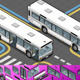 Isometric Bus with Opened Doors - GraphicRiver Item for Sale