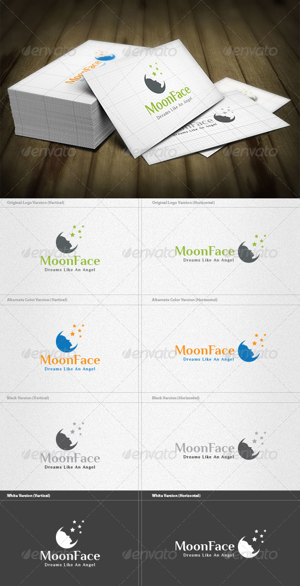 Moon Face Logo - Nature Logo Templates