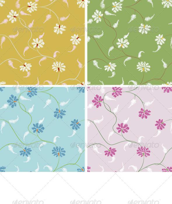 GraphicRiver Stylized Flower Seamlees Pattern Set 4356821