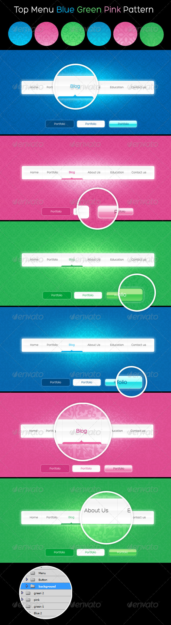 GraphicRiver Top Menu Blue Green Pink Pattern 4525495