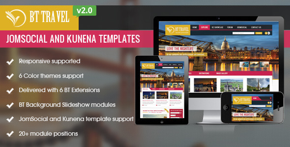 BT Travel - Jomsocial and Kunena Template - Joomla CMS Themes