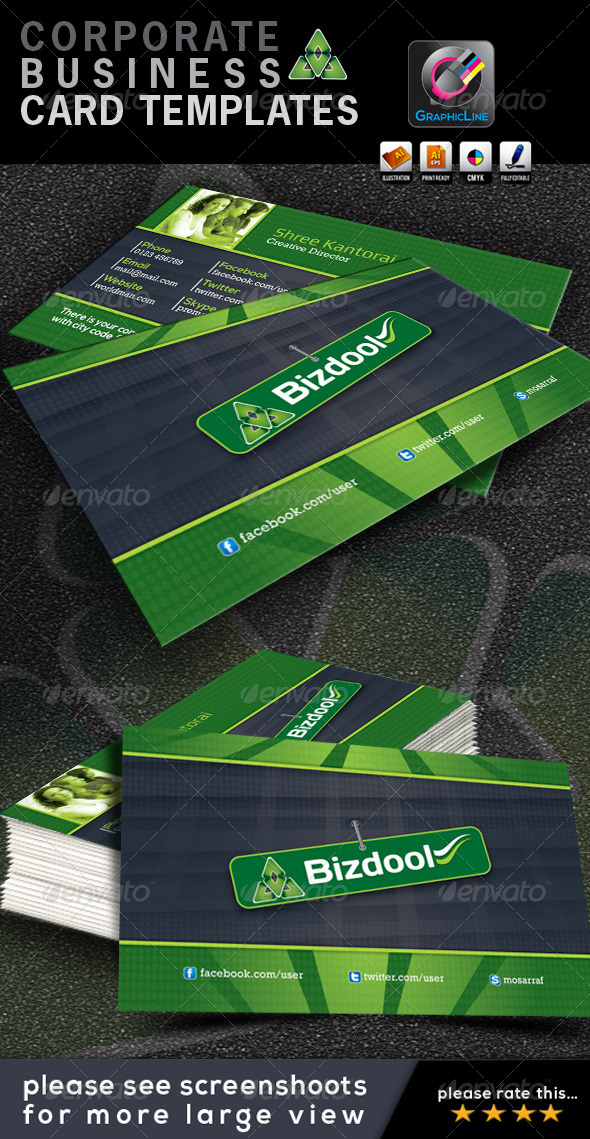 GraphicRiver Bizdool Corporate Business Card 4528916