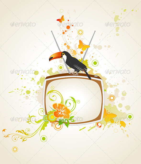 GraphicRiver Old TV and Toucan 4529727