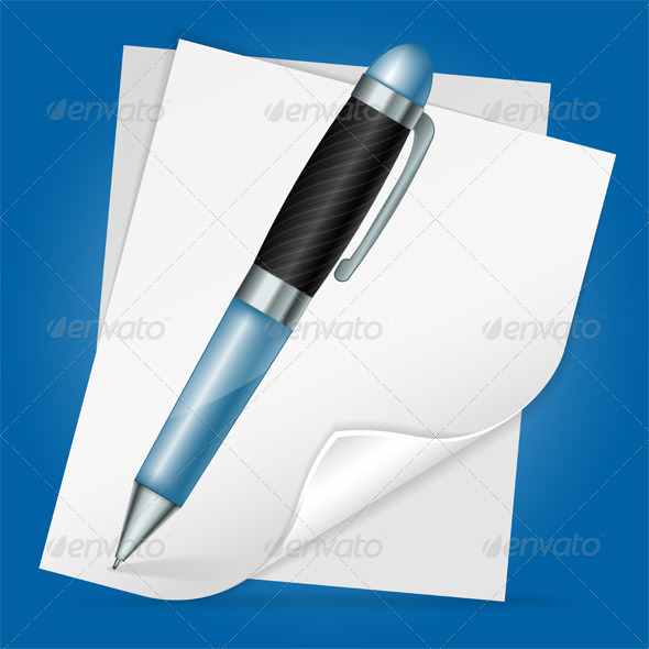 GraphicRiver Pen with Sheet Paper 4529845